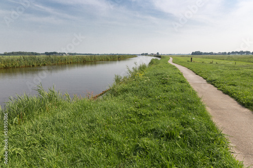 Straight canal in Dutch National Park Weerribben