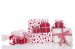 Weihnachten, Valentin - Geburtstag; Geschenke in Rot mit Herzen