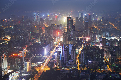 Shenzhen city in night light. Bird view