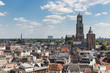 Aerial cityscape of medieval city Utrecht, the Netherlands