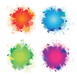 a set of four colourful ink splashes