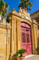 Entrance of Palazzo Vilhena in Mdina, Malta
