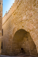 Wall of Mdina in Malta, the old wall and the new part