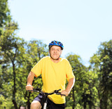 Mature man in sportswear posing on a mountain bike in a park