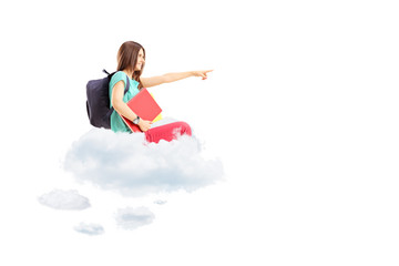 Female student with bag pointing and sitting on a cloud