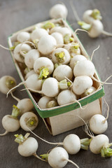 Basket of small turnips