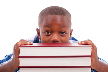 African American school boy with stack a book - Black people