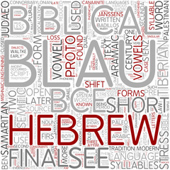 Biblical Hebrew language Word Cloud Concept