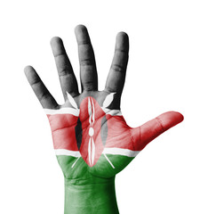 Open hand raised, multi purpose concept, Kenya flag painted