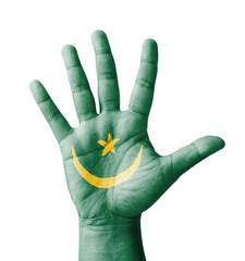 Open hand raised, multi purpose concept, Mauritania flag painted