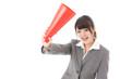 asian businesswoman using megaphone