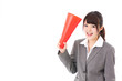 asian businesswoman using megaphone