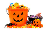 Halloween Jack o Lantern candy bowls with assorted candy