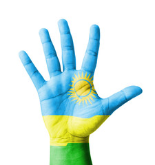 Open hand raised, multi purpose concept, Rwanda flag painted