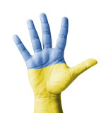 Open hand raised, multi purpose concept, Ukraine flag painted