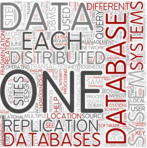 Distributed database Word Cloud Concept