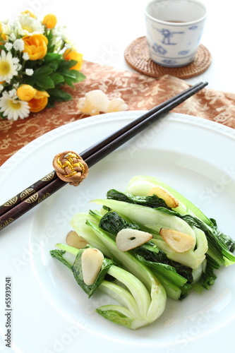 Chinese food, Pak Choi stir fried and tea