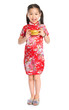 Chinese girl holding a gold ingot
