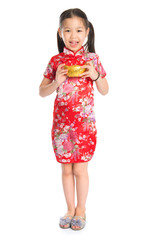 Chinese girl holding a gold ingot
