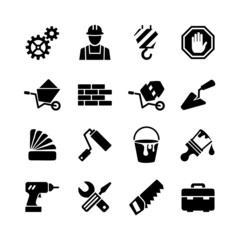 16 web icons set - building, construction, repair and decoration