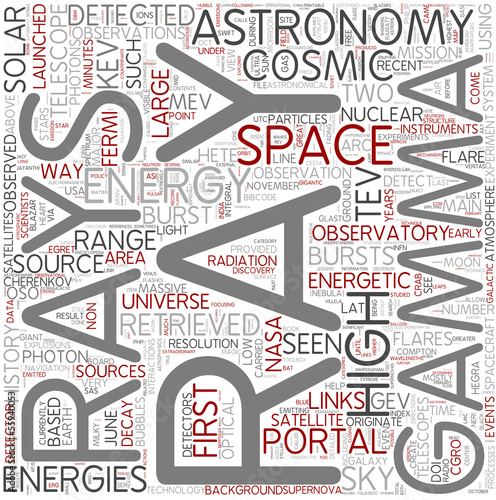 Gamma ray astronomy Word Cloud Concept
