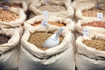 Various grains in bags