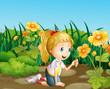 A girl in the garden holding a shovel