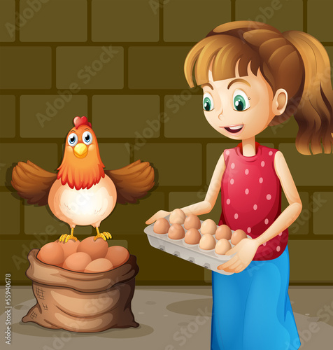 A farmer's wife collecting eggs