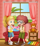 A boy and a girl holding gifts inside the house