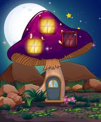 A violet mushroom house