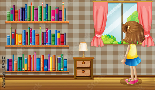A girl inside the house with a collection of books