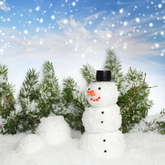 Snowman with winter snow background. Christmas card.