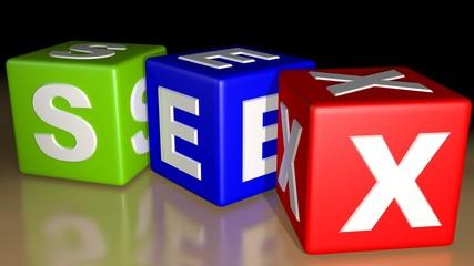 SEX colored cubes