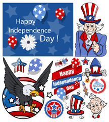 happy independence day vector set