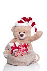 Weihnachtsgrüße vom Weihnachtsmann mit Geschenken