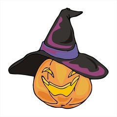 Lantern pumpkin with witch hat Halloween cartoon vector