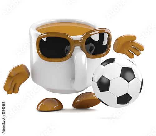 Coffee cup kicks the football