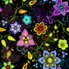 Black seamless floral pattern with transparent butterflies