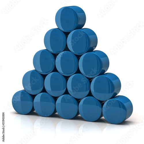 Pyramid made from blue cylinders