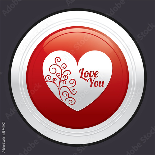 Heart button. Red round love sticker.