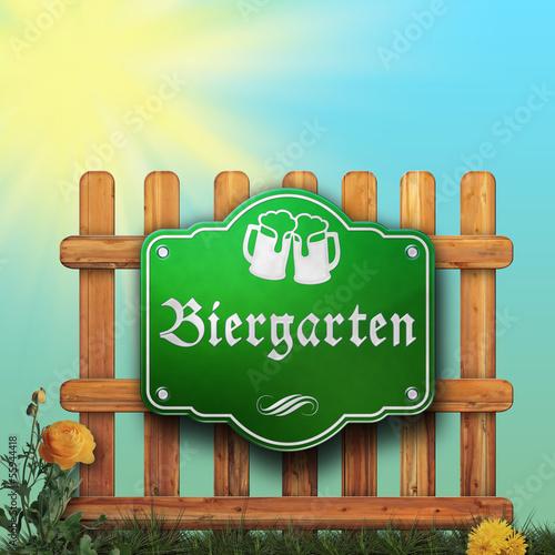 Biergarten - Schild - Zaun