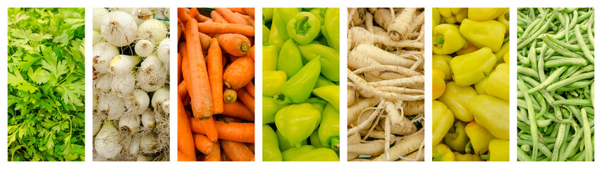 Fresh Vegetables In Market Collage