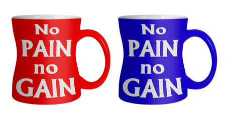 No pain no gain diet mugs with waist - isolated