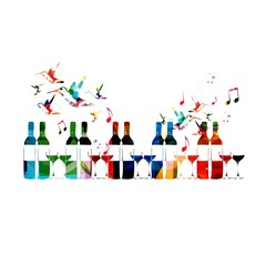 Colorful vector bottle and glass background with hummingbirds.