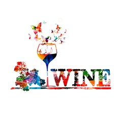Colorful vector wine background with butterflies.