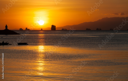 canvas print picture Evening at the Manila Bay