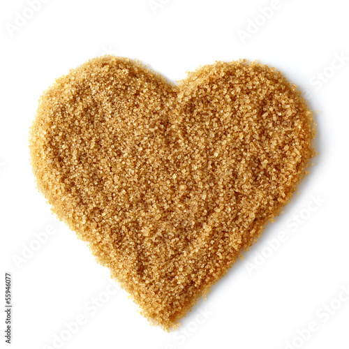 Heart shape of brown sugar