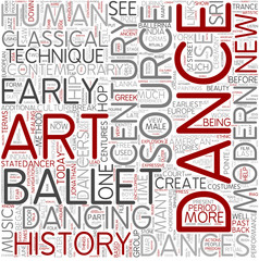 History of dance Word Cloud Concept