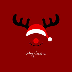Abstract Christmas Card Rudolph Red