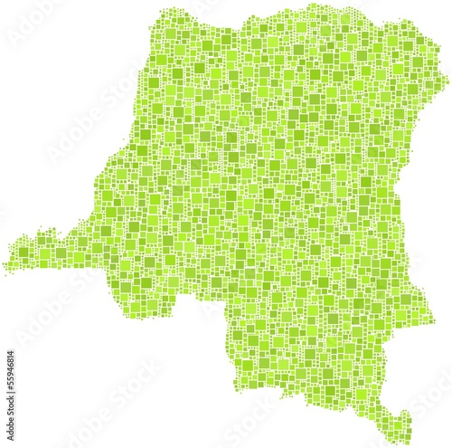 Decorative map of Congo in a mosaic of green square